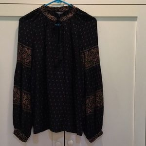 Women's Lucky Top Blouse Black Print Long Sleeves